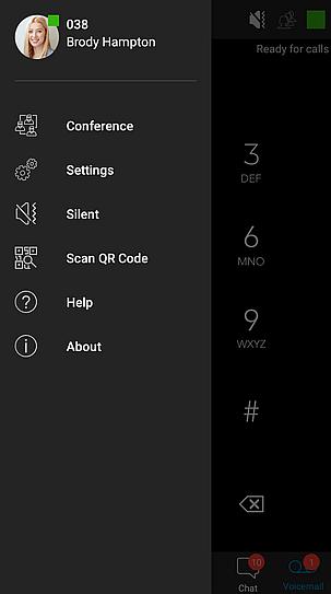 Zijpaneel met functies in 3CX Android App