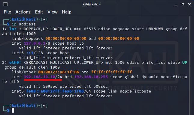 Virtual hacking lab. Check Kali Linux IP address. Source: nudesystems.com
