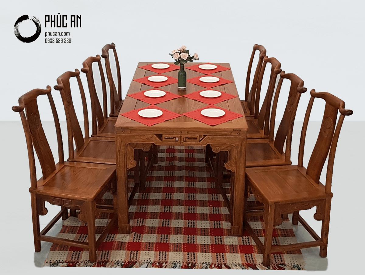 Bộ bàn ăn gỗ Hương Đá mặt vuông mẫu Hoan Hỷ 8 ghế