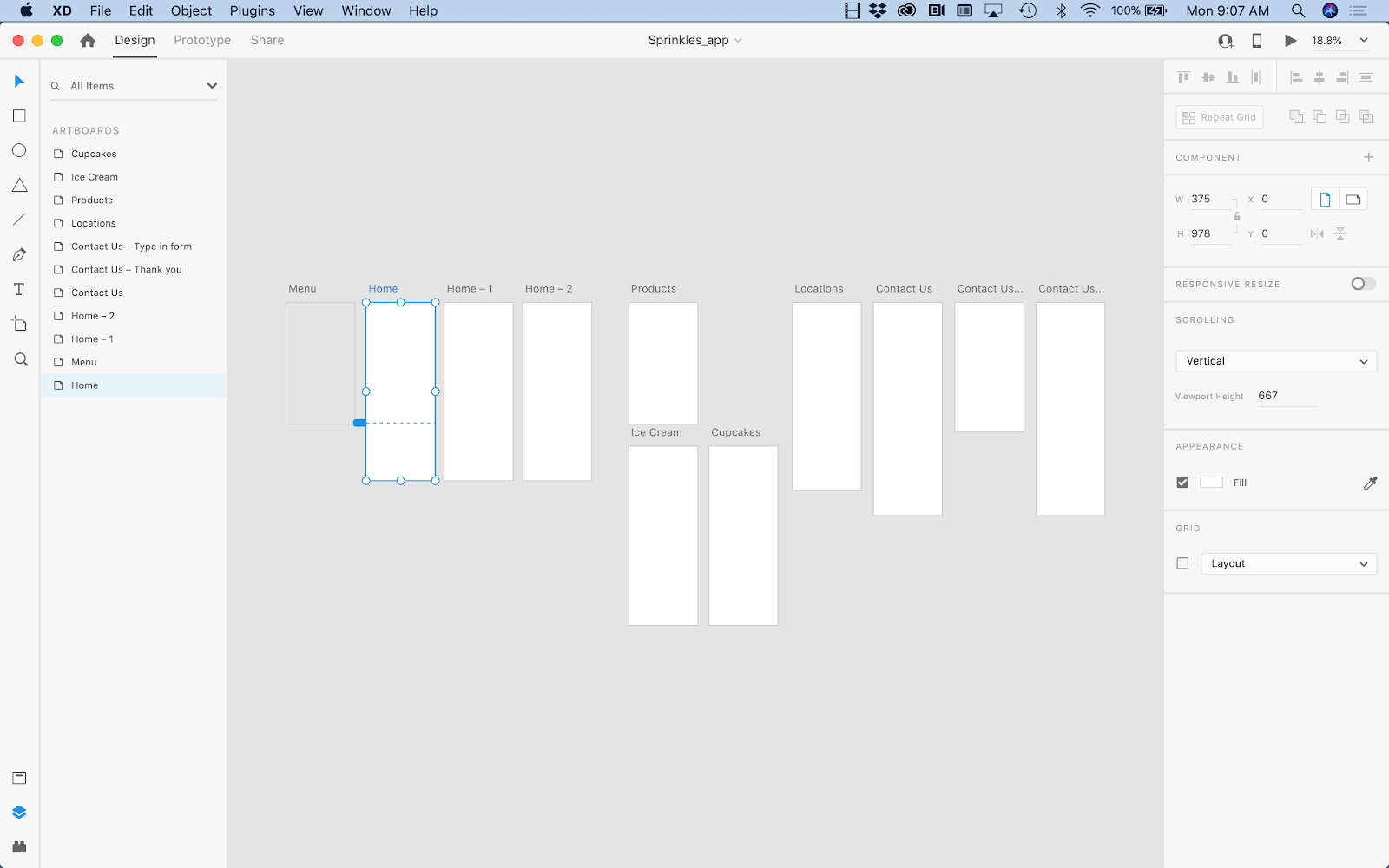 A series of blank wireframe artboards representing key screens to be included in a mobile app.