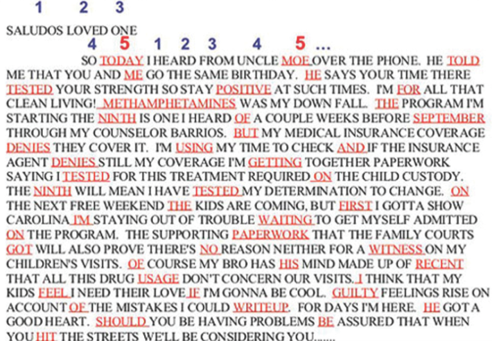 """The letter from a gang member in prison to a friend on the outside seemed normal enough. """"Saludos loved one,"""" it began, and went on to describe the perils of drug use and the inmate's upcoming visit from his children. But closer inspection by examiners in our Cryptanalysis and Racketeering Records Unit (CRRU) revealed that this seemingly ordinary letter was encoded with a much more sinister message: every fifth word contained the letter's true intent, which was to green-light the murder of a fellow gang member. Enciphered instructions A bomber's enciphered instructions for making ricin poison. Breaking such codes is CRRU's unique specialty."""