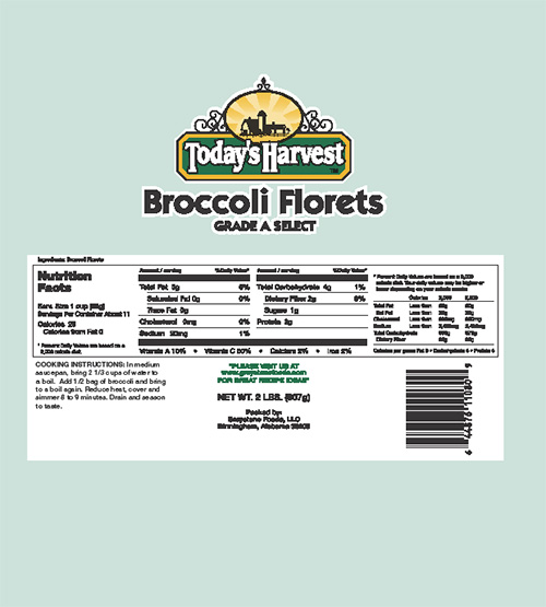 Today's Harvest Broccoli Florets, Nutrition Fact Panel
