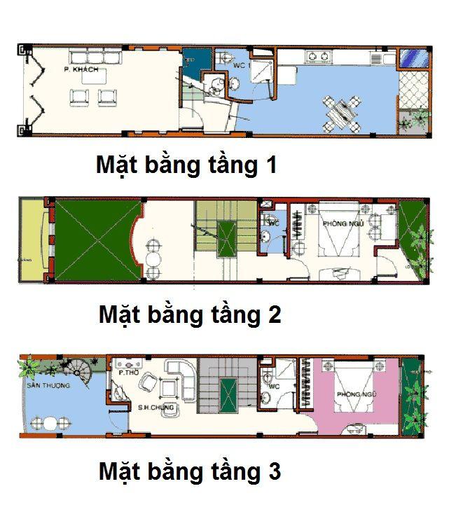 Mặt bằng nhà phố 3 tầng phong cách tân cổ điển