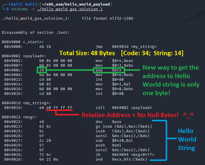 Our new program's objdump that shows the address to the string is no longer fixed.