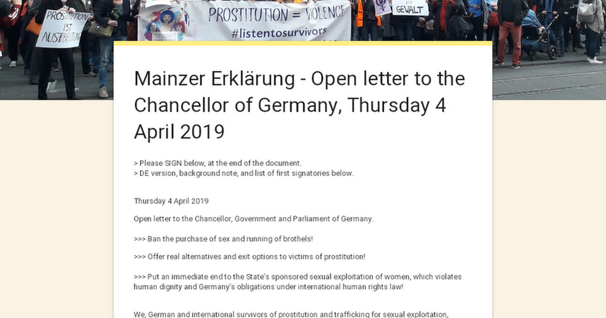 Mainzer Erklärung  - Open letter to the Chancellor of Germany, Thursday 4 April 2919