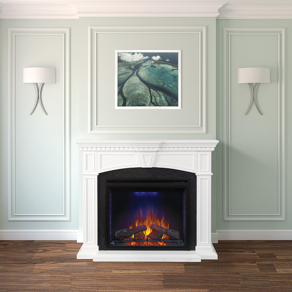 Electric Fireplace With White Mantel