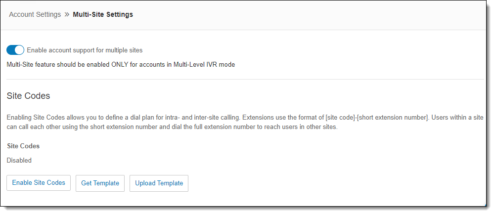 Toggle to switch for Enable account support for multiple sites