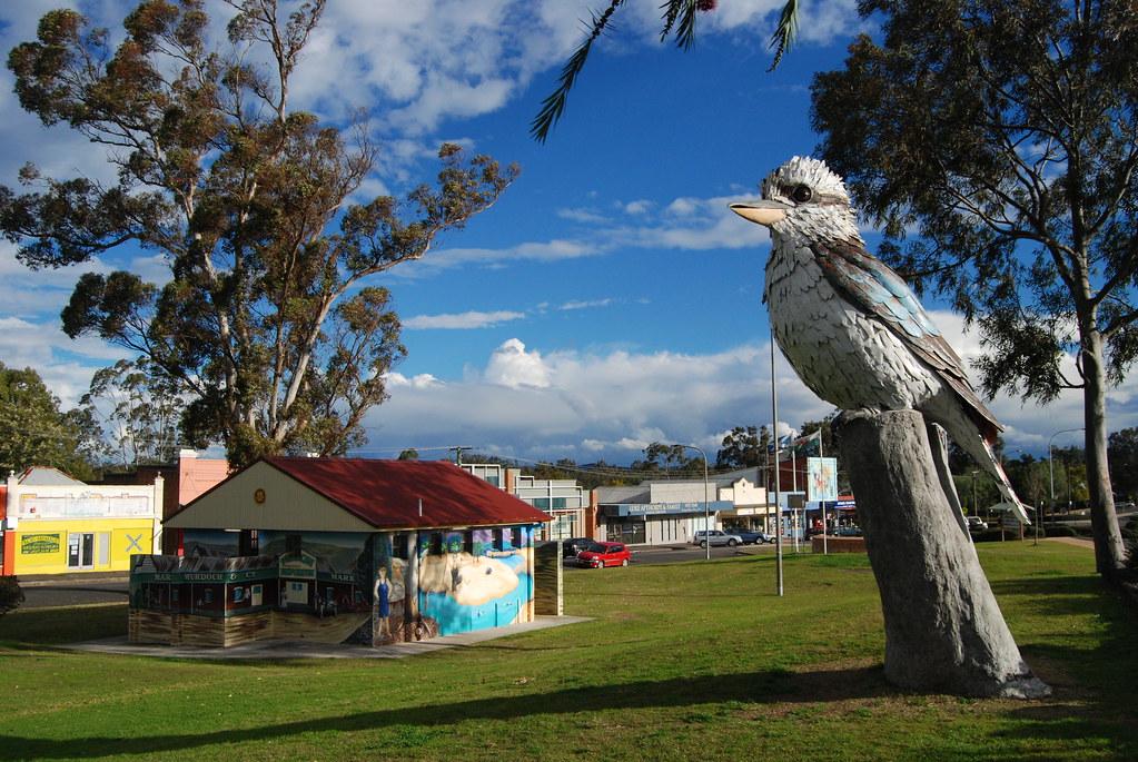 The Big Kookaburra statue sitting on a tree