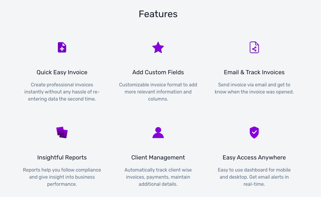Invoicing software features.