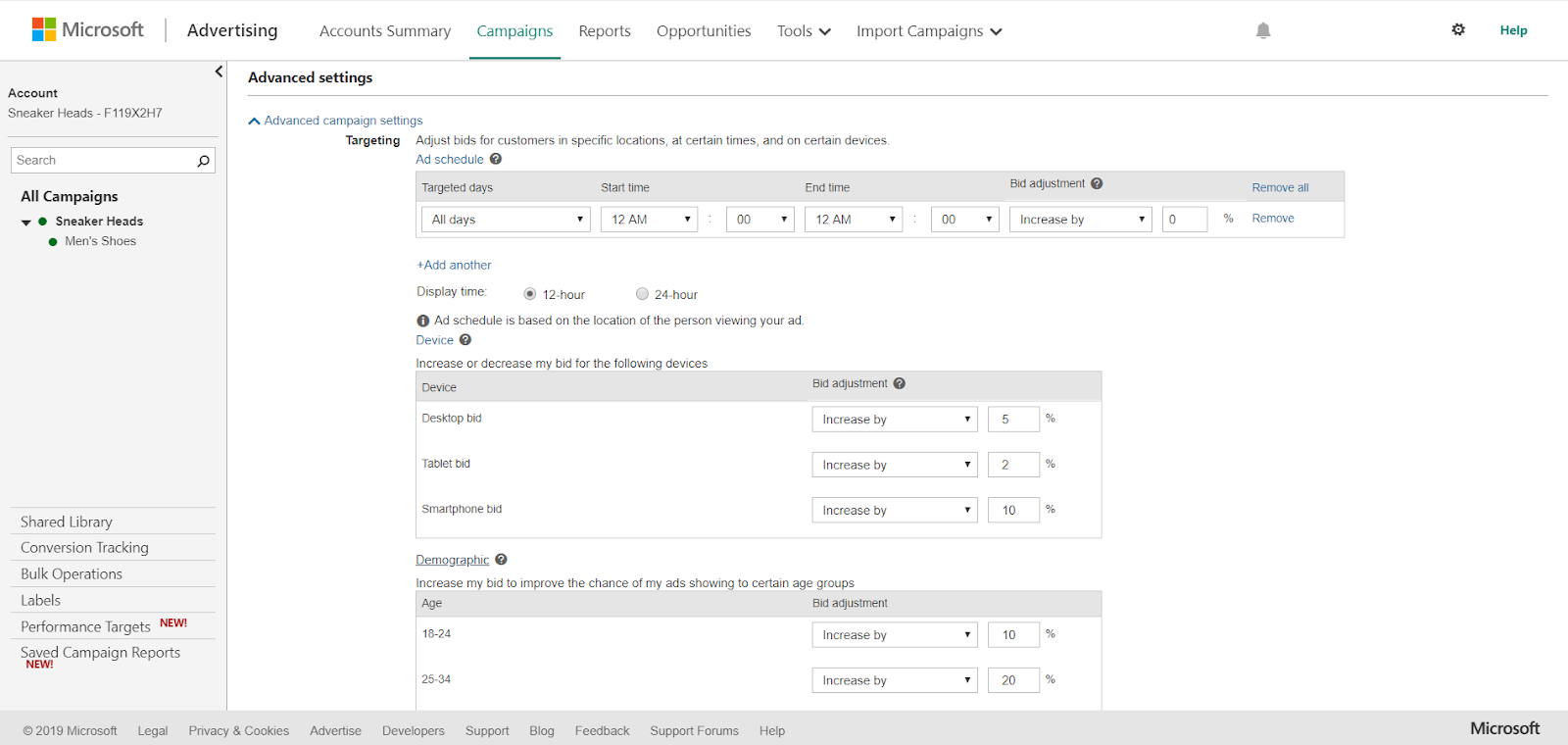 Bing Ads advanced settings to target age groups and device types.