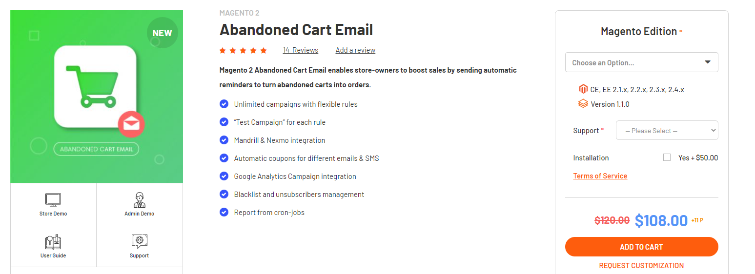 Magento 2 Abandoned cart email extension by Magenest