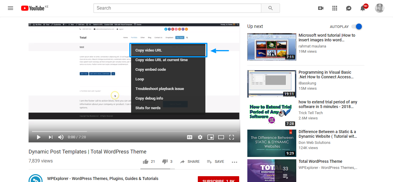 How to add videos to wordpress copy the video url on youtube videos