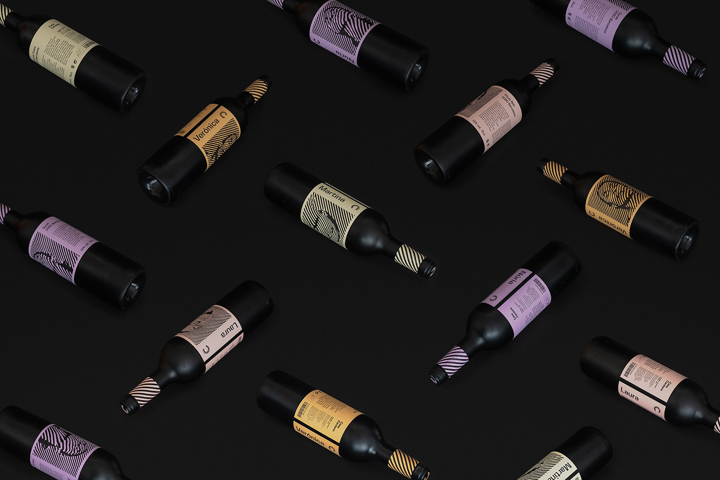 Casa Cardona wines. Group shot of the bottles in isometric view creating a seamless image