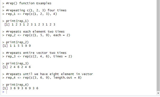 This image shows multiple examples for rep() function with different arguments