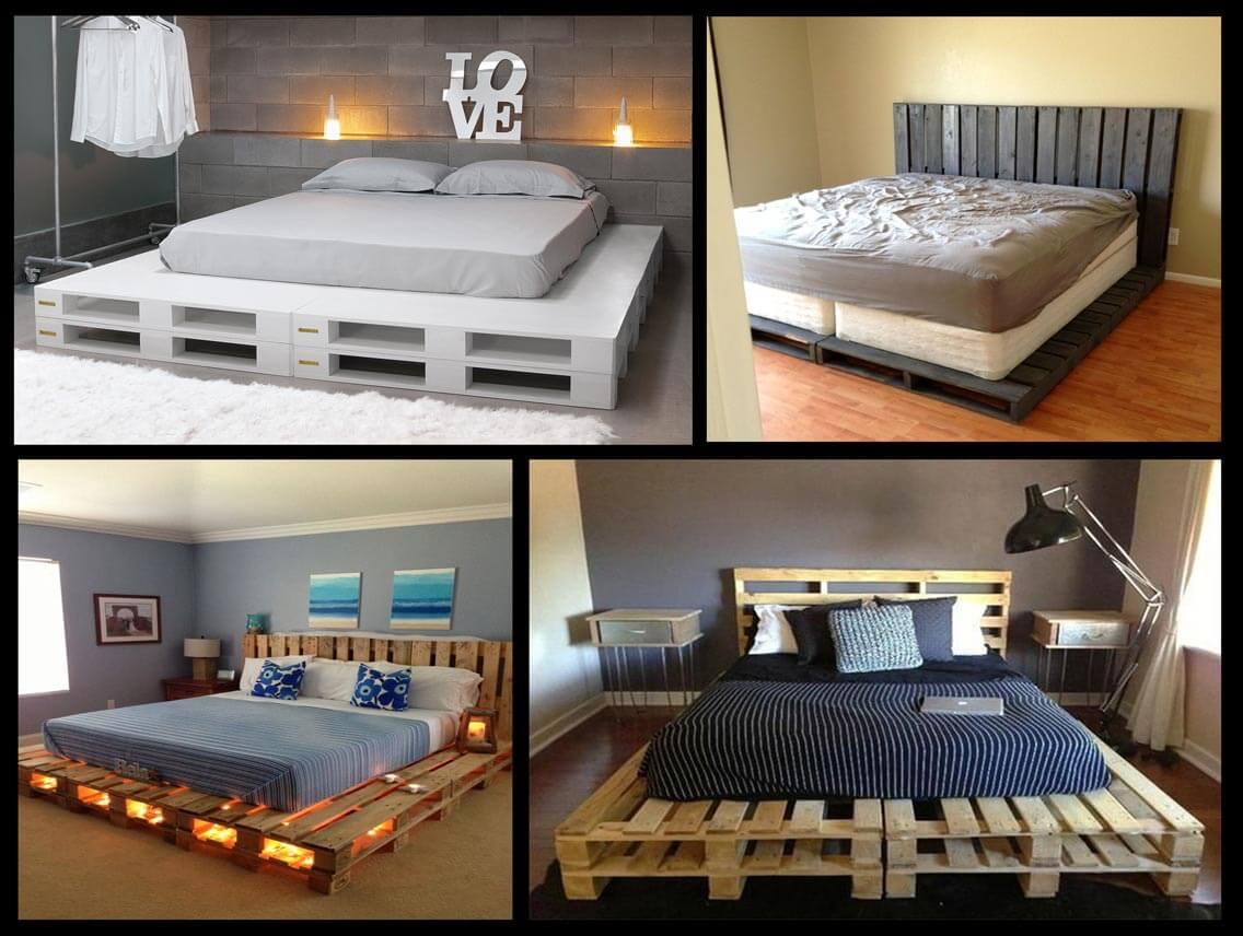 Варианты кроватей из деревянных поддонов своими руками