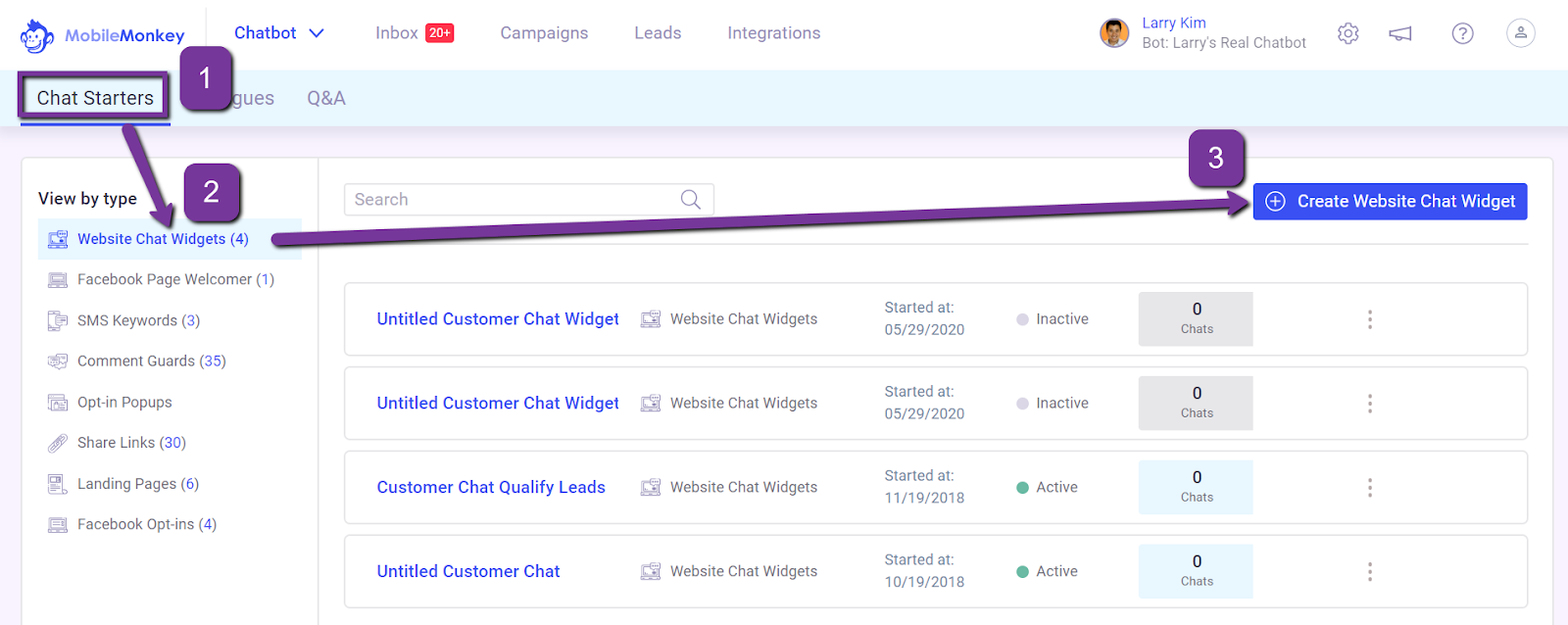 how to create a Facebook live chat widget