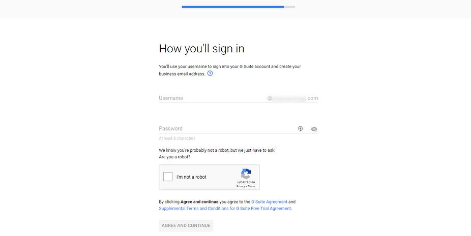 Trang để tạo tên người dùng trong G Suite để sử dụng làm địa chỉ email doanh nghiệp.