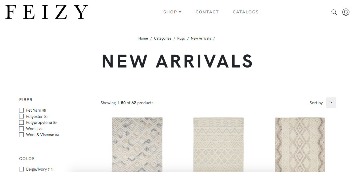 Example of Feizy taxonomy on their new rug arrivals