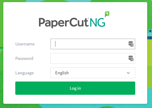 Image of Papercut Login Screen