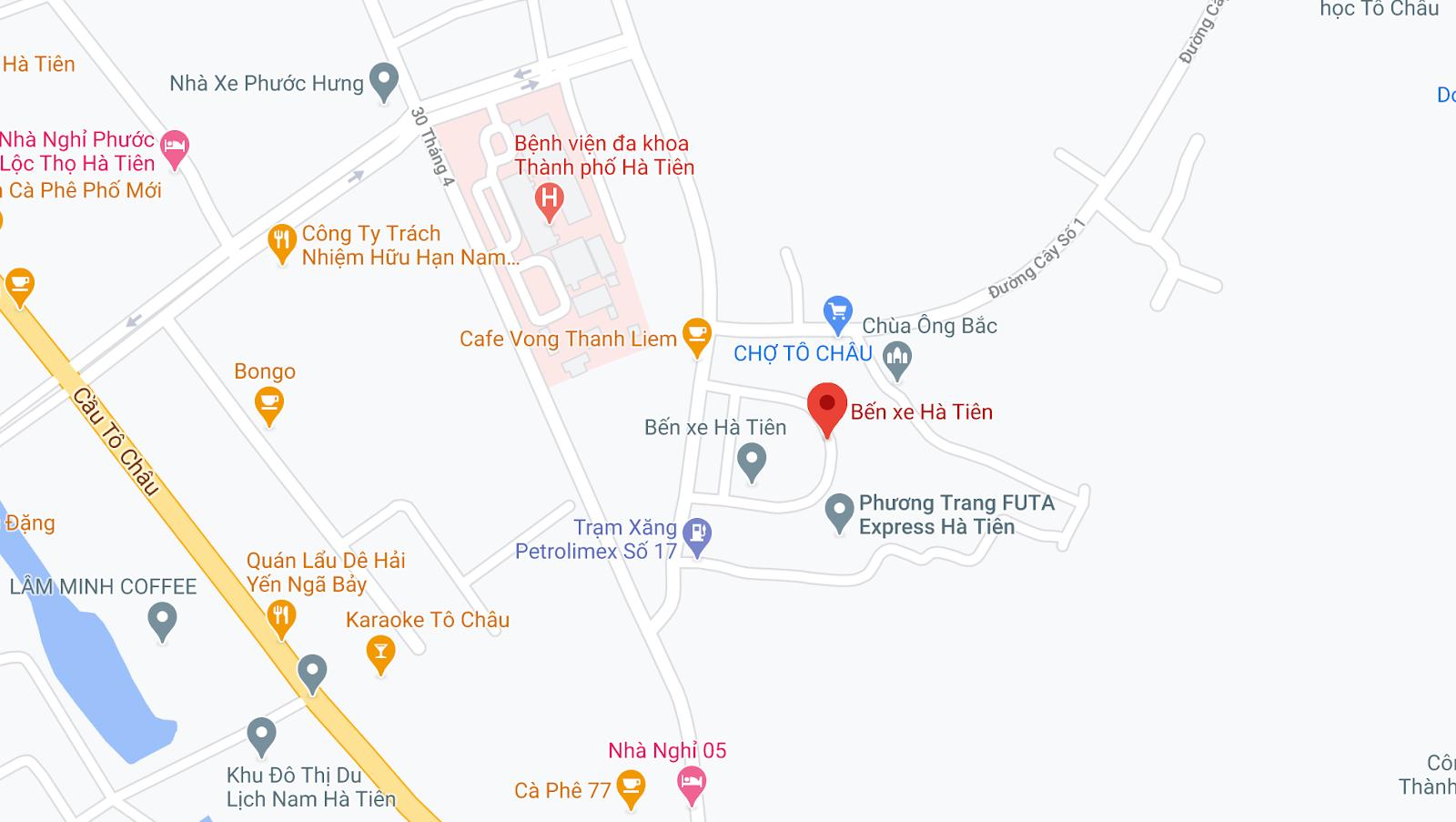 Địa điểm đón/trả khách tại Hà Tiên