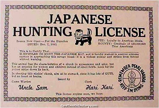A Racist License to hunt Japanese people, 1941