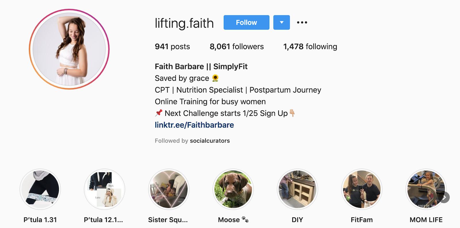 optimized instagram profile