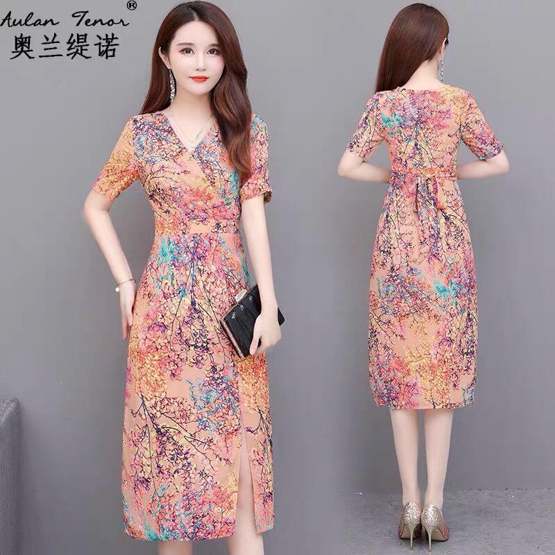 Đầm Hoa Nhí Cột Eo Xẻ Tà - HN1020