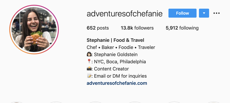 Stephanie Goldstein | Instagram Food & Travel Bio