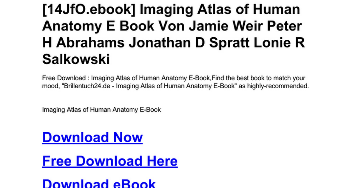 Imaging Atlas Of Human Anatomy E Bookc Google Drive