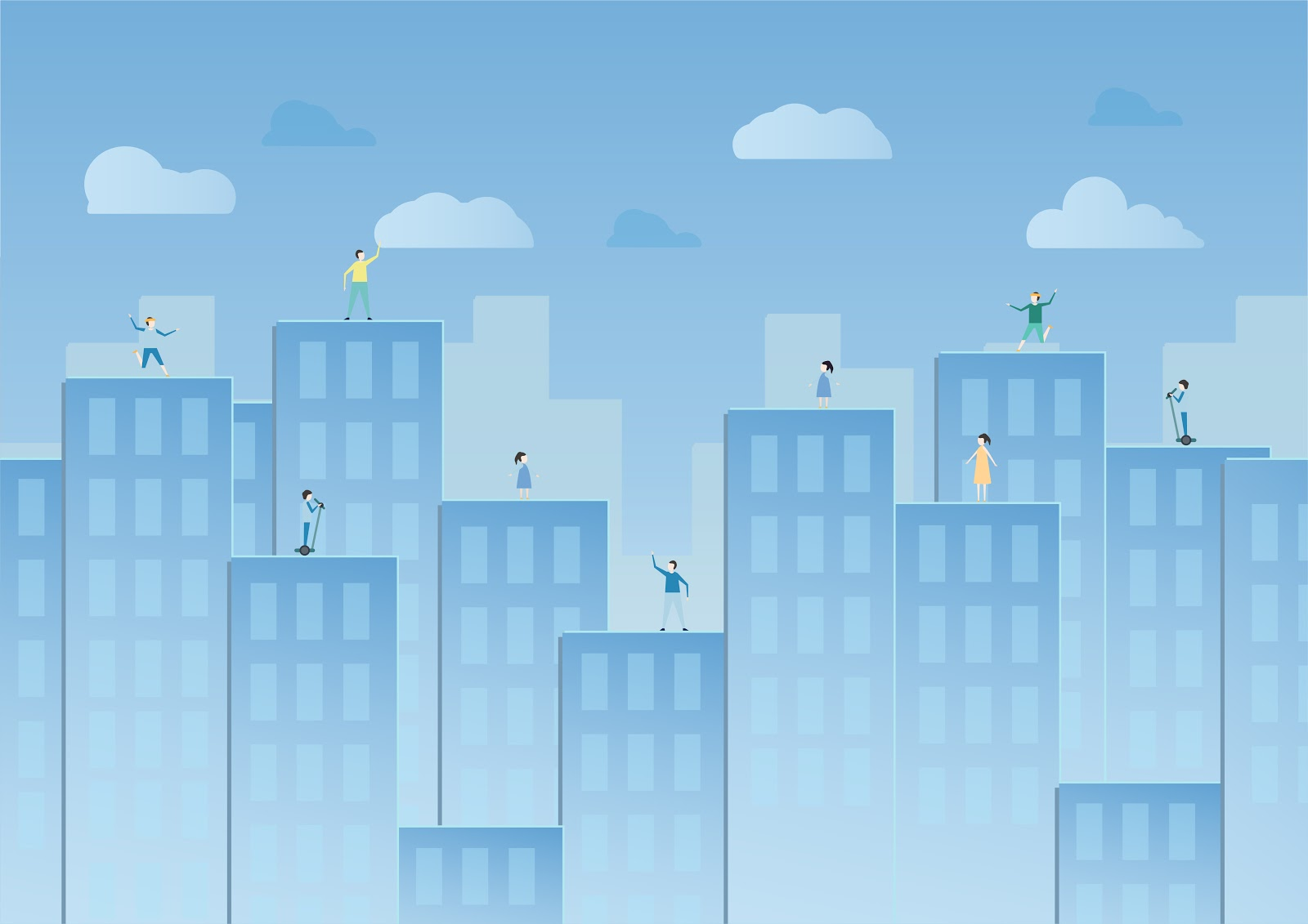Image of skyscrapers in the city with people on the top of each building. Represents the infrastructure of a company and the need to keep it cyber resilient.