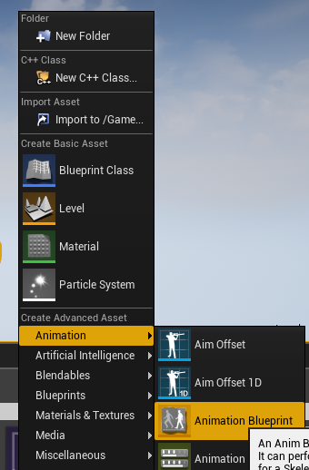Joint rotations and animation blueprints faceware knowledge base to create a new animation blueprint right click in the empty space of your content browser to find the create advanced asset menu malvernweather