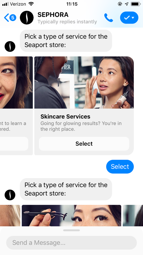 popular chatbots sephora bot