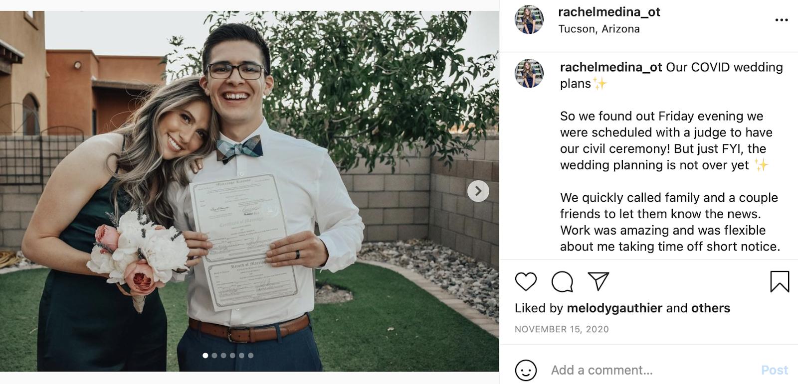 civil ceremony wedding photo and wedding instagram caption