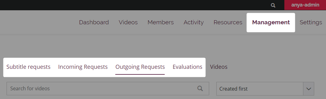 The Management tab of an Amara team with all subtitle request types highlighted