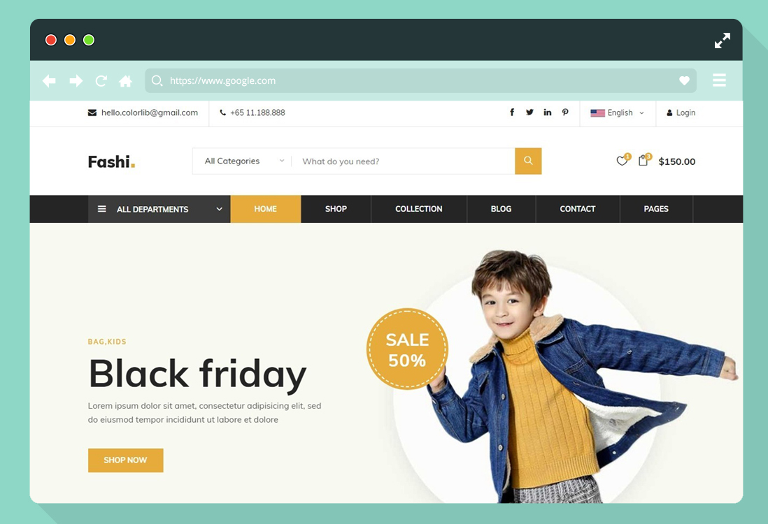 cost of the eCommerce website template