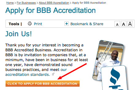 click to apply for bbb accreditation chicago