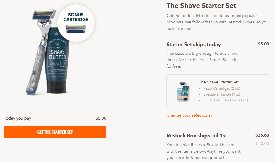 Coffee offer in physical products. Higher price, monthly subscription. Dollar Shave Club.