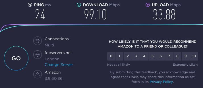 Reviewer's speed test results on London server