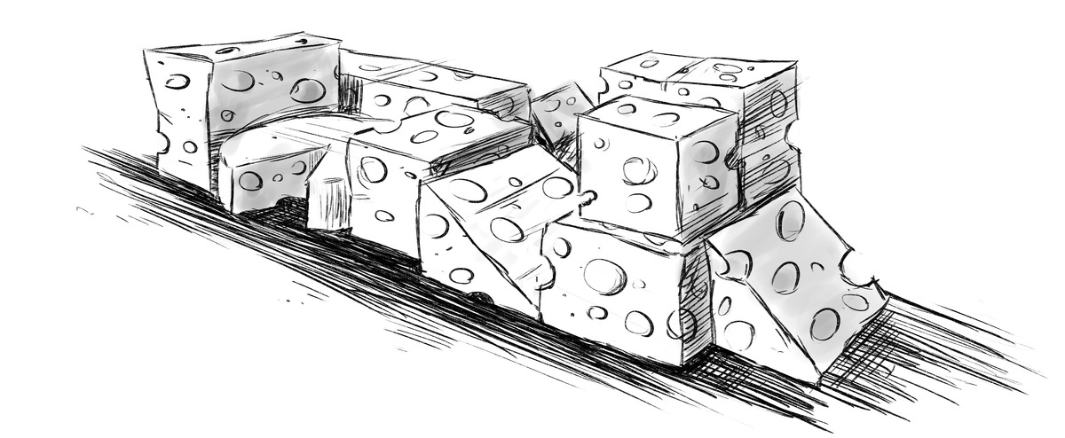 A collection of Swiss cheese wheels and blocks, arranged like a LEGO(TM) set