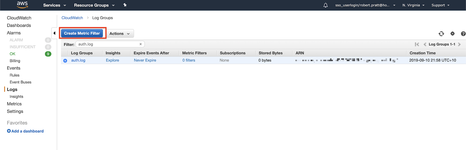 "Select ""Create Metric Filter"" from your Amazon CloudWatch dashboard."