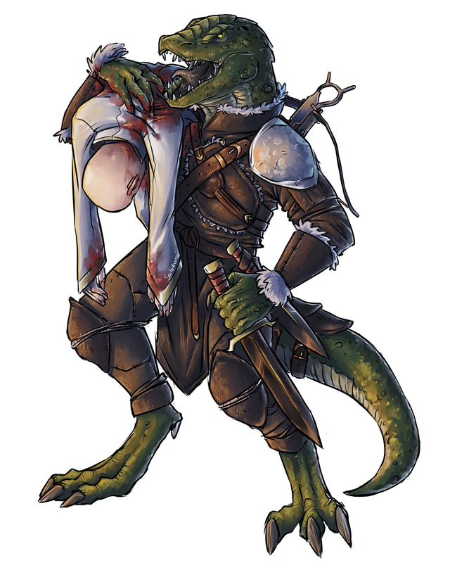 r/DnD - [Art] A lizardfolk and his mortally wounded friend