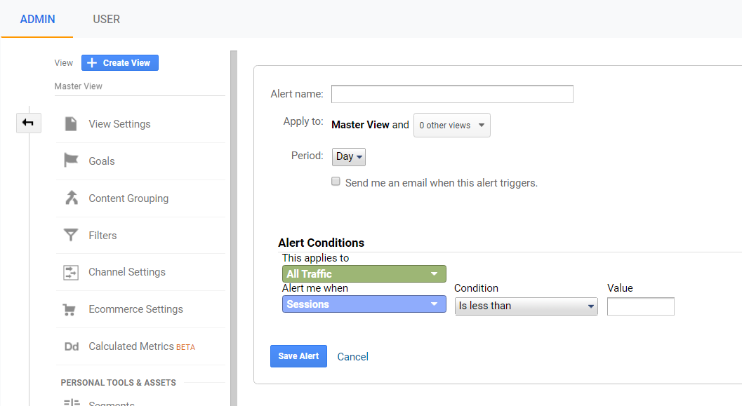 creating a custom alert in google analytics.