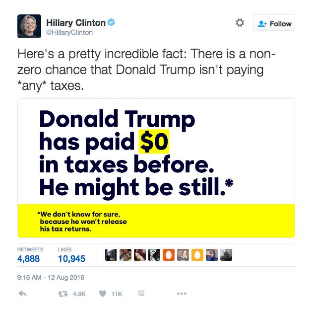 Hillary Clinton's tweet about Donald J. Trump