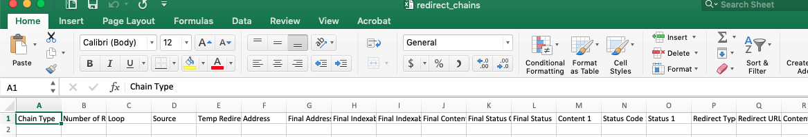 Excel report on Redirect chains