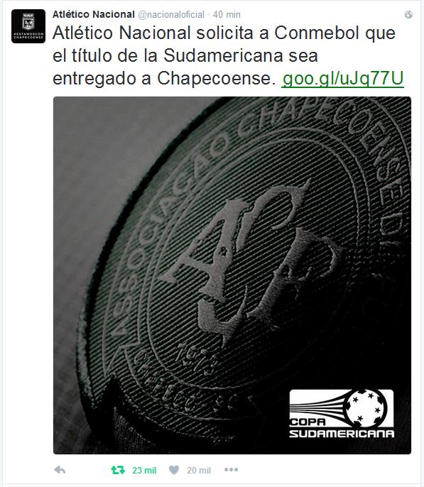 Atletico Nacional quer dar título à Chapecoense