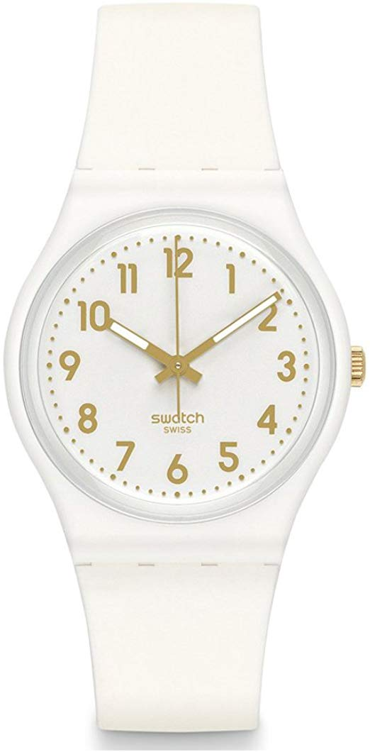 Swatch White Bishop White and Gold Dial Plastic Silicone Quartz Ladies Watch