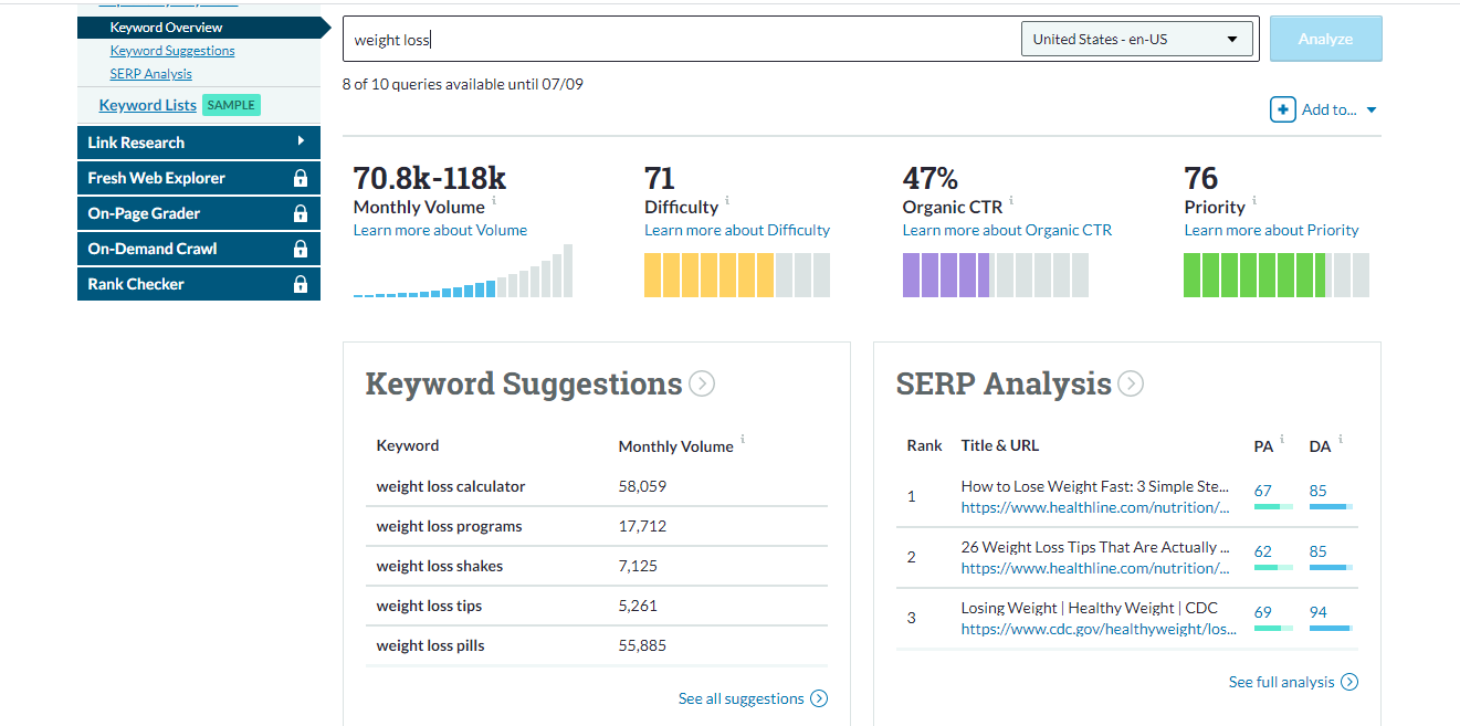 moz keyword suggestion tool