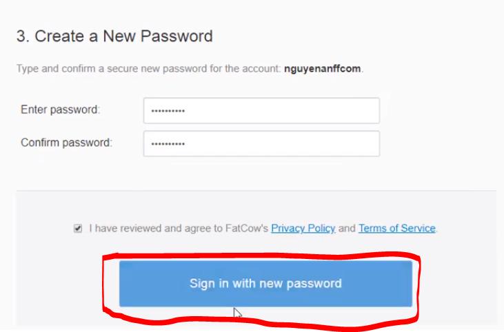 Đặt mật khẩu mới trong tài khoản Fatcow