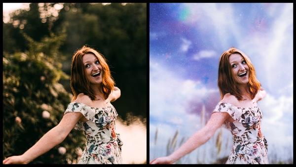 Montagem de uma mulher branca posando em um campo aberto mostrando o antes e depois da edição.