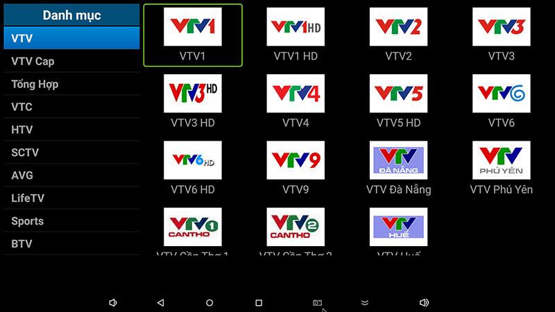 flytv android tv box ung dung xem truyen hinh tivi online mien phi flytvbox - nhom kenh VTV